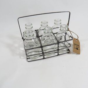 Rustic Farmhouse Steel Basket 6 Mini Bottles Vase